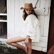 Irina Shayk In Prairie Girl Whites For ELLE France June 2018 | magazine | elle | france